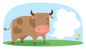 Vector cow in the field. Grouped and layered objects for easy editing. Available space for your text Stock Image