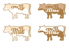 Vector cow and milk set Stock Photography