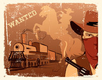 Vector cowboy andlocomotive. Western stock images