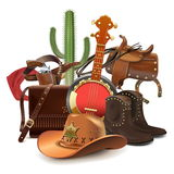 Vector Cowboy Concept with Banjo Royalty Free Stock Photo