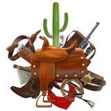 Vector Cowboy Concept with Saddle Stock Photo