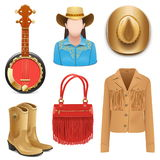 Vector Cowboy Female Accessories Stock Photos