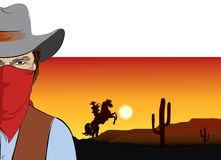 Vector  cowboy with mask.Bandit Stock Photography