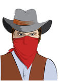 Vector  cowboy with mask.Bandit Stock Photos