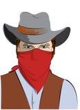 Vector  cowboy with mask.Bandit Stock Photos