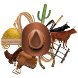 Vector Cowboy Ranch Concept. Isolated on white background Royalty Free Stock Photography