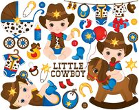 Vector Cowboy Set. Set Includes Cute Little Baby Boys Dressed As Little Cowboys Royalty Free Stock Photos
