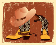 Vector cowboy shoes and hat Royalty Free Stock Images