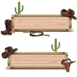 Vector Cowboy Signboards Stock Photo