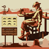 Vector cowboy. Western theme and moustaches Stock Image
