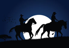 Vector cowboys. Cowboys walking with moon. (please visit my portfolio for more Royalty Free Stock Photography