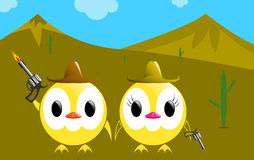 Vector cowboys  chickens Royalty Free Stock Photo