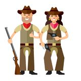 Vector Cowboys with rifle. Flat style colorful Cartoon illustration. Man and woman with weapon. Isolated on white background Stock Images