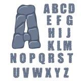 Vector cracked stone alphabet on a white background. Illustration Stock Image
