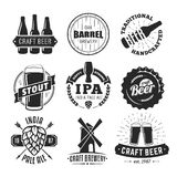 Vector craft beer logos. Vector craft beer badges. Set of vintage craft beer logos and labels royalty free illustration