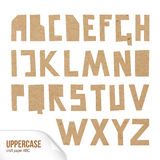 Vector craft paper ABC on white background. Rough uppercase characters cut out of craft paper. Cardboard capital letters. Vector carton ABC on white background Royalty Free Stock Photos