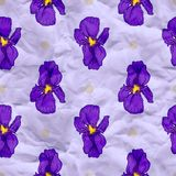 Vector craft paper with iris flowers. Seamless pattern with iris flowers, eps10 Stock Images