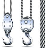 Vector Crane Hooks and Steel Rope Stock Photos