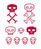 Vector craniums with crossed bones, flat 8 bit icons, collection. Of simple geometric pixel symbols. Digital web signs Royalty Free Stock Photo