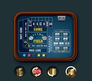 Vector craps table layout (small). Detailed craps casino table with icons Stock Photos