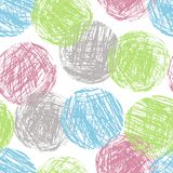 Pastel soft color colorful geometric circle forms seamless pattern. Hand drawing round artistic grunge stroke figure. Vector crayon, chalk or pencil sphere Stock Image