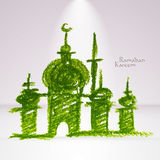 Vector Crayon Muslim Mosque. Royalty Free Stock Images