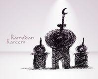 Vector Crayon Muslim Mosque. Royalty Free Stock Photography