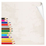 Vector crayons on paper old Royalty Free Stock Photos
