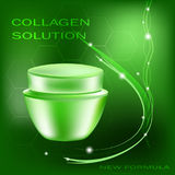Vector cream jar with glares and light on the green background, collagen solution. Illustration for cosmetology Stock Photos