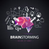 Vector creatief embleem, uitwisseling van ideeën, die tot nieuwe ideeën, groepswerkillustratie leidt royalty-vrije illustratie