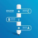 Vector Creatief infographic Malplaatje met de lijn van het potloodlint Stock Fotografie
