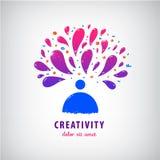 Vector creatief team, verbeelding, kunstembleem Mens, persoon het denken Royalty-vrije Stock Foto