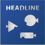 Vector creatieve etiketten voor uw website. Gestileerde vissen - één, tw Stock Foto's