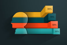 Vector creatieve hoofdsilhouetbanner Stock Afbeeldingen