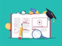 Vector creatieve illustratie, online e-lerend, afstandsonderwijs, Webontwerp, online cursussen Boek royalty-vrije illustratie