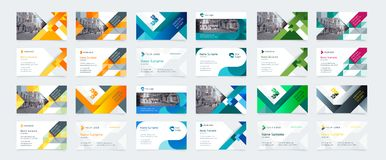 Vector creative business card template. With triangles, squares, round, waves for business, technology. Simple and clean design with a logo and a place for a royalty free illustration