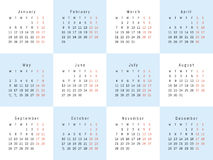 Vector creative calendar. Vector calendar 2016. Template design 12 months Stock Images