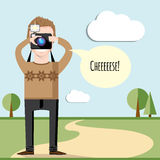 Vector creative character design of young photographer taking photos Stock Photography