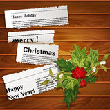 Vector creative, christmas background (scraps of newspaper artic Royalty Free Stock Photo