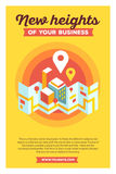 Vector creative colorful illustration of modern city map and geo. Signs with header new heights of your business and text on yellow background. Geo navigation Royalty Free Stock Photo