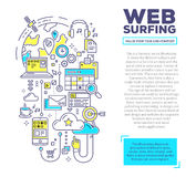 Vector creative concept illustration of web surfing with header Royalty Free Stock Photography
