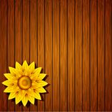 Vector creative flower on wooden background Royalty Free Stock Photo