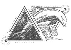 Vector creative geometric ocean dolphin tattoo art style design. Dolphin tattoo art style. Vector geometric tattoo sketch. Vintage hand drawn compass rose and royalty free illustration