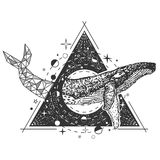 Vector creative geometric whale tattoo art style design. Whale tattoo art style. Vector geometric tattoo sketch. Vintage hand drawn ocean whale, symbol of good Royalty Free Stock Image