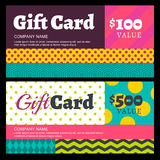 Vector creative gift card or voucher background template. Multic Stock Photography