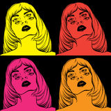 Vector creative hand drawn illustration of weird woman with four eyes. Stock Images