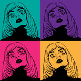 Vector creative hand drawn illustration of weird woman with four eyes. Royalty Free Stock Photography