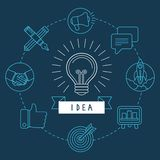 Vector creative idea concept in outline style Royalty Free Stock Images