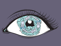 Vector creative illustration of eyes with fish and waves in pupil made in hand drawn style. Royalty Free Stock Images