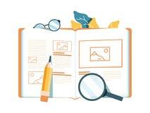 Vector creative illustration, online e-learning, distance learning, web design, online courses. stock illustration